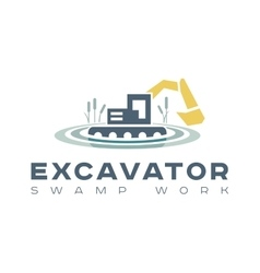 Logo amphibious excavator for wetland work vector