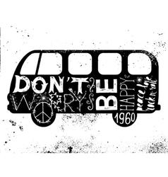 Vintage hippie time decorated van vector image