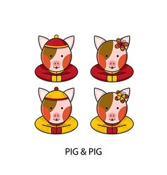 Pig chinese vector