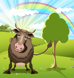 cow on green landscape vector image