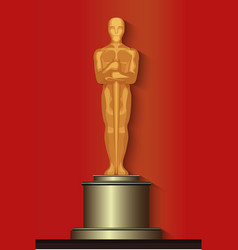 Golden oscar film award statuette isolated vector