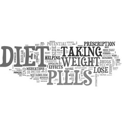 Be careful with diet pills text word cloud concept vector