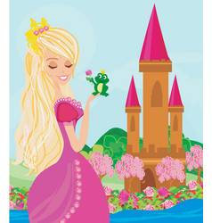 Beautiful young princess and big frog vector