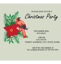 Bird frame christmas invitation vector