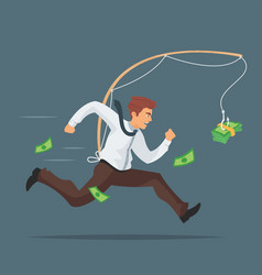 Businessman chasing after money vector