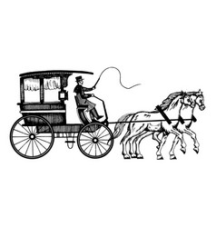 carriage with horses engraving style vector image