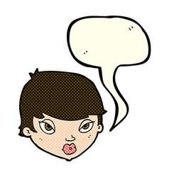 cartoon unimpressed woman with speech bubble vector image vector image