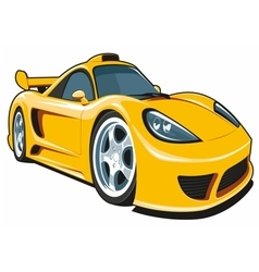 Cartoon yellow sport car vector