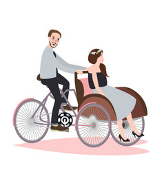Couple ride tricycle rickshaw together have fun vector
