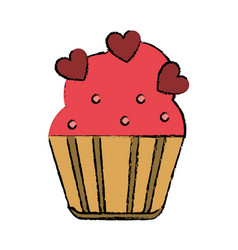drawing cup cake love hearts vector image