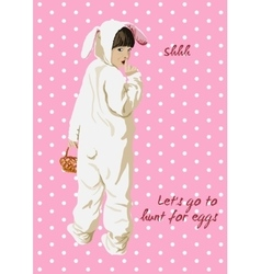 Easter card girl in bunny costume with basket vector