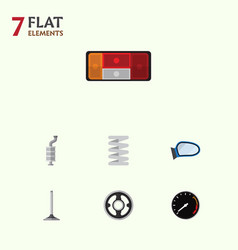 Flat icon component set of auto component belt vector