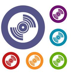 gramophone vinyl lp record icons set vector image