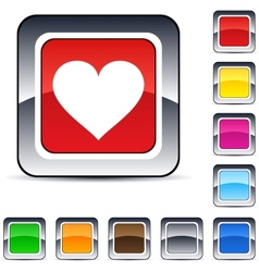 Heart square button vector image vector image