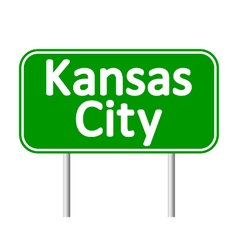 Kansas city green road sign vector