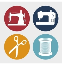 Kit sewing character icon vector