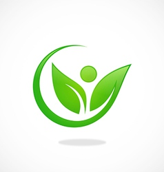 leaf people nature ecology logo vector image