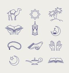 Pen arabic muslim line signs vector