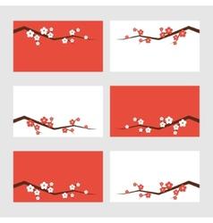 Sakura blossom greeting cards vector