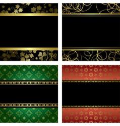 set - black card with golden frames vector image vector image