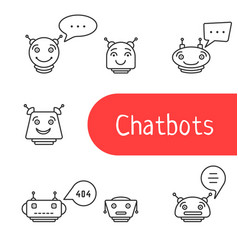 Set of simple thin line chatbot icon vector