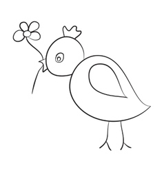 Sketch of the bird with a flower in its beak vector