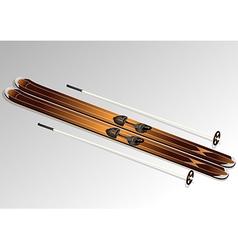 Skis with ski poles vector