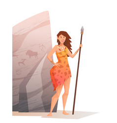Smiling young woman holding a spear vector