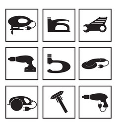 Tools mechanic icons set black silhouette vector