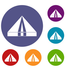 Tourist camping tent icons set vector