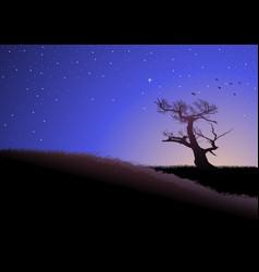 Twilight in meadows vector