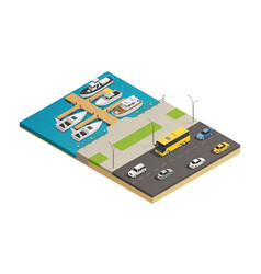 waterfront harbor transport isometric composition vector image vector image