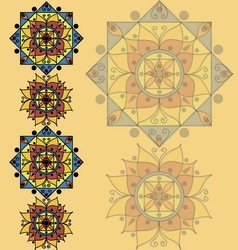 Yellow pattern with mandalas vector image vector image