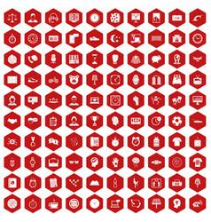 100 clock icons hexagon red vector