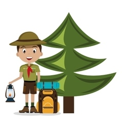 scout character with travel bag isolated icon vector image