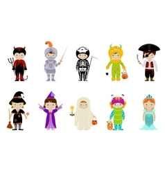 Big set of kids in halloween costumes vector
