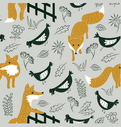 sly foxes and chickens seamless pattern vector image