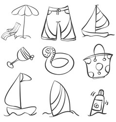 Doodle object summer hand draw vector