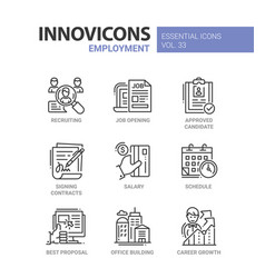 employment- modern line icons set vector image