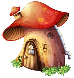A mushroom house vector