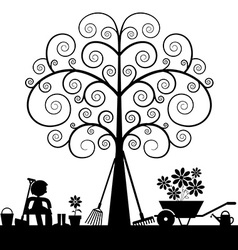 Tree silhouette with gardening tools and sitting vector