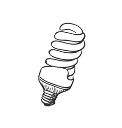 Doodle energy saving light bulb vector
