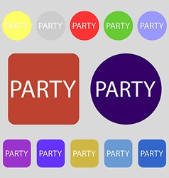 Party sign icon birthday air balloon with rope or vector