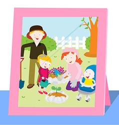 Family photo in spring vector