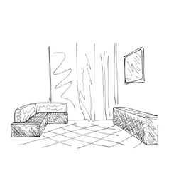 Hand drawing interior vector