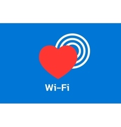 Wi-fi icon with hearth on blue background vector