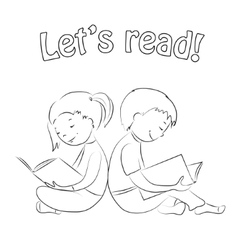 Kids reading books - outline coloring page vector
