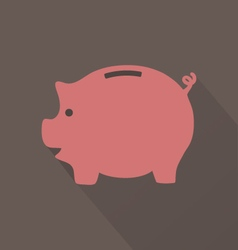 Flat Pink Piggy Bank Icon On Brown Background vector image