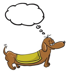 Evil dachshund with speech bubble vector