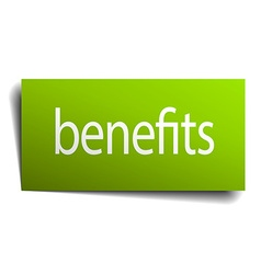 Benefits green paper sign on white background vector